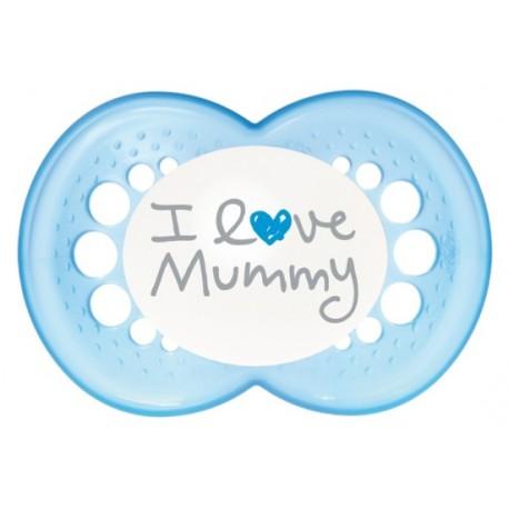 Smoczek 6m MAM Love & Affection I Love Mummy blue