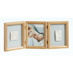 My Baby Touch Wooden Double Frame Baby Art - Honey