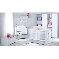 Zestaw mebli Little Sky by Klupś Dalia grey łóżko z pojemnikiem 120x60 cm